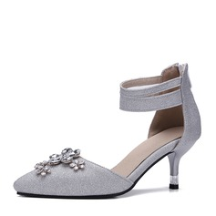 Women's Leatherette Stiletto Heel Sandals Pumps Closed Toe With Rhinestone Sparkling Glitter Zipper shoes