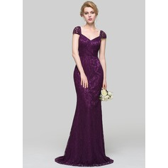 Trumpet/Mermaid V-neck Sweep Train Lace Bridesmaid Dress