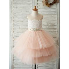 A-Line/Princess Knee-length Flower Girl Dress - Satin/Tulle/Lace Sleeveless Scoop Neck With Sash/Beading (Detachable sash) (010131714)