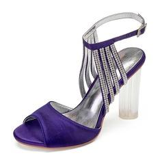 Женщины шелка как атласное Высокий тонкий каблук Открытый мыс На каблуках Сандалии с горный хрусталь Каблуки с кристаллами