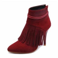 Femmes Suède PU Talon stiletto Escarpins Bout fermé Bottes Bottes mi-mollets avec Tassel chaussures