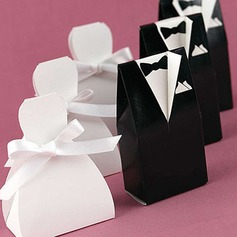 Bride & Groom Favor Boxes With Ribbons  (050006374)