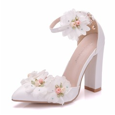 Women's Leatherette Spool Heel Closed Toe Pumps Sandals With Flower