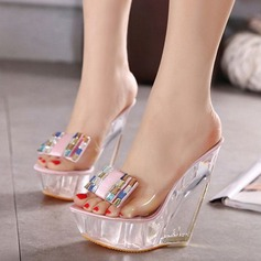 Women's PVC Wedge Heel Sandals Wedges Slippers With Rhinestone shoes