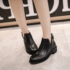 Frauen PU Flascher Absatz Flache Schuhe Geschlossene Zehe Stiefelette mit Schnalle Reißverschluss Schuhe