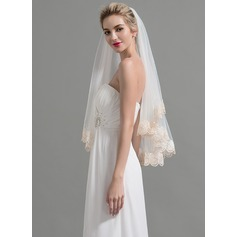 One-tier Lace Applique Edge Waltz Bridal Veils With Applique (006095198)