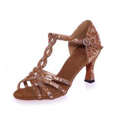 Mulheres Camurça Saltos Sandálias Latino com Correia -T Sapatos de dança