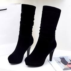 De mujer Ante Tacón stilettos Salón Botas longitud media zapatos