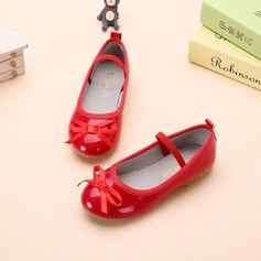 Girl's Leatherette Flat Heel Closed Toe Flats With Bowknot