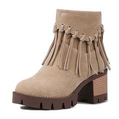 Donna Camoscio Tacco spesso Stiletto Punta chiusa Stivali Stivali alla caviglia Stivali altezza media Stivali da equitazione con Nappa scarpe