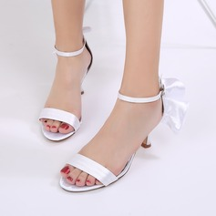 Women's Silk Like Satin Stiletto Heel Peep Toe Pumps Sandals With Buckle