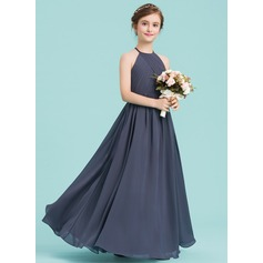 A-Line/Princess Scoop Neck Floor-Length Chiffon Junior Bridesmaid Dress With Ruffle (009149006)