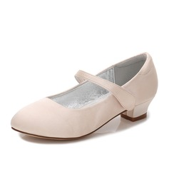 Girl's Round Toe Closed Toe Mary Jane Silk Like Satin Low Heel Flower Girl Shoes With Rhinestone Velcro