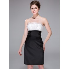 Empire Scalloped Neck Knee-Length Charmeuse Organza Cocktail Dress With Ruffle