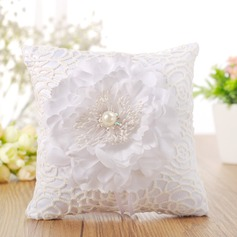 Beautiful Ring Pillow in Cloth With Ribbons/Faux Pearl/Flowers
