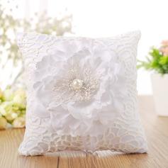 Schöne Ring Kissen in Stoff mit Bänder/Faux-Perlen/Blumen