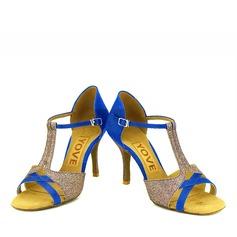 Femmes Satiné Pailletes scintillantes Talons Latin avec Boucle Ouvertes Chaussures de danse