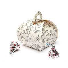 Floral Design Handbag shaped Favor Boxes (Set of 12)