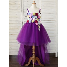 A-Linie Asymmetrisch Blumenmädchenkleid - Tüll Ärmellos Correas de hombro mit Blumen