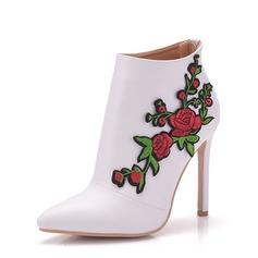 Vrouwen Kunstleer Stiletto Heel Laarzen Pumps met Bloem