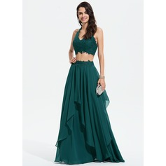 A-Line Halter Floor-Length Chiffon Prom Dresses With Lace (018175910)