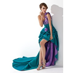 A-Line/Princess One-Shoulder Asymmetrical Taffeta Prom Dress With Ruffle Beading Flower(s) (018021088)