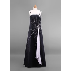 A-Line/Princess Square Neckline Floor-Length Satin Junior Bridesmaid Dress With Beading Sequins