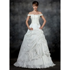 Ball-Gown Off-the-Shoulder Court Train Taffeta Wedding Dress With Ruffle Beading Appliques Lace Crystal Brooch