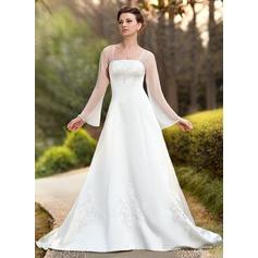 Corte A/Princesa Escote Cuadrado Cola capilla Chifón Satén Vestido de novia con Bordado