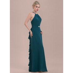 A-Line/Princess Scoop Neck Floor-Length Chiffon Bridesmaid Dress With Beading Cascading Ruffles