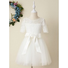 A-Line Knee-length Flower Girl Dress - Tulle/Lace Short Sleeves Scoop Neck (Detachable sash) (010206282)