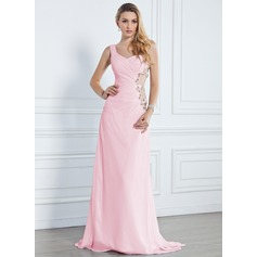 A-Line/Princess One-Shoulder Sweep Train Chiffon Evening Dress With Ruffle Beading