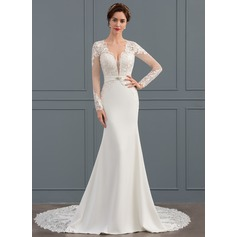Trumpet/Mermaid V-neck Chapel Train Stretch Crepe Wedding Dress With Beading (002134391)