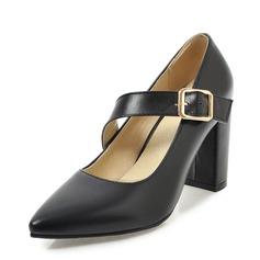 Frauen Kunstleder Stämmiger Absatz Absatzschuhe Geschlossene Zehe mit Schnalle Schuhe