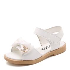 Muchacha Cerrados Kunstleder Talón plano Sandalias Planos Zapatos de niña de las flores con Bowknot Rhinestone Velcro