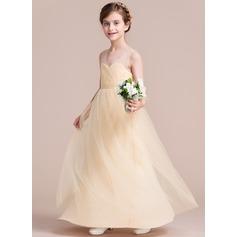 A-Lijn/Prinses V-nek Vloer lengte Tule Junior Bruidsmeisjes Jurk met Roes