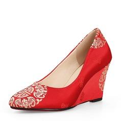 Frauen Satin Keil Absatz Absatzschuhe Geschlossene Zehe Keile mit Andere Schuhe
