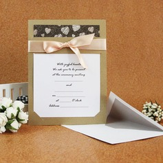 Classic Style Flat Card Invitation Cards With Ribbons  (114030774)