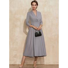 A-Linie V-Ausschnitt Wadenlang Strech-Krepp Kleid für die Brautmutter