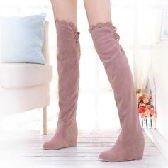 Kvinnor Mocka Flat Heel Stövlar Over The Knee Boots med Ihåliga ut skor