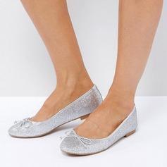 Donna Glitter scintillanti Senza tacco Ballerine Punta chiusa scarpe (086152982)