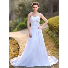 Forme Princesse Bustier en coeur Traîne moyenne Mousseline Satiné Robe de mariée avec Plissé Emperler Motifs appliqués Dentelle Sequins