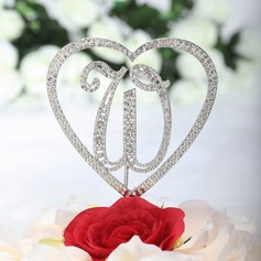 Monogrammme/Coeur Chromé Mariage Décoration pour gâteaux