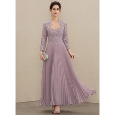 A-Line Sweetheart Ankle-Length Chiffon Lace Mother of the Bride Dress With Pleated