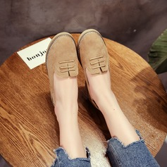 Women's Suede Chunky Heel Flats With Lace-up shoes
