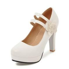 Frauen PU Stämmiger Absatz Absatzschuhe Plateauschuh Geschlossene Zehe mit Blume Schuhe