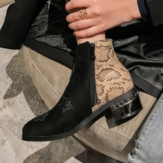 Women's Leatherette Chunky Heel Boots Ankle Boots أحذية