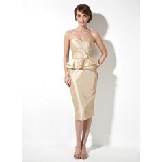 Etui-Linie Herzausschnitt Knielang Taft Kleid für die Brautmutter mit Rüschen Perlen verziert