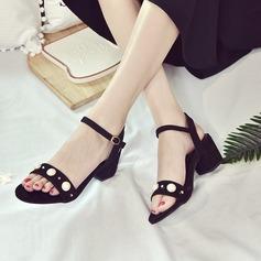 Kvinder Ruskind Stor Hæl sandaler Pumps Kigge Tå Slingbacks med Imiteret Pearl Spænde sko