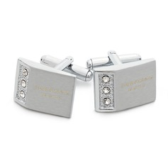 Personalized With Rhinestones Stainless Steel Cufflinks (Set of 2)